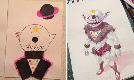 Un padre diseña los mismos dibujos que su hijo en modo profesional