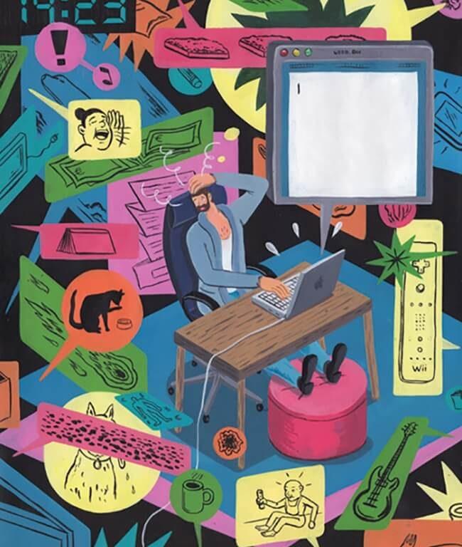 El lado oscuro de la sociedad moderna a través de ilustraciones