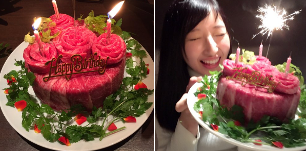 Los japoneses celebran el cumpleaños con tartas de carne cruda